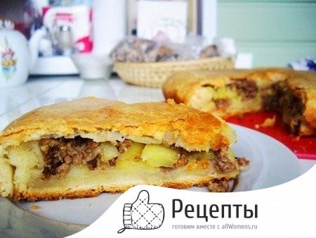 Пирог с фаршем сыром и картошкой рецепт с фото